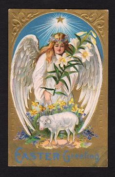 Easter Postcard angel carrying lily, reaching towards lamb, bright star 1909