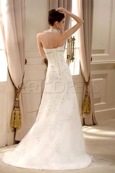 Fancy Lace Halter V Neck Chapel Train Embroidering Beading Wedding Dress 3