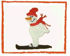 gehäkelter Schneemann auf Ski von SaVö-Design Häkelapplikationen auf DaWanda.com crochet snowman