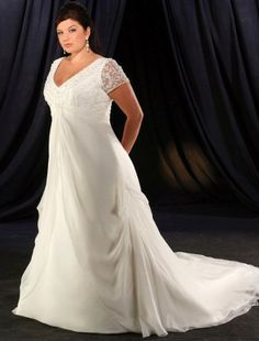 A-line V-neck Chapel Train Short Chiffon Plus Size Wedding Dress For Brides