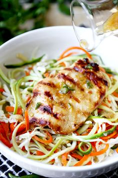 Thai Chicken Zoodles - A smoky, grilled Thai Chicken Zoodles Recipe that has lean protein, spiralized veggies and loads of flavor! This light, healthy recipe is ready in 23 minutes from start to finish. Recipe, healthy, zoodles, gluten free, main, dinner, light | pickledplum.com