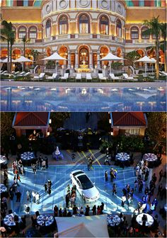 A new car model's debut made a splash at Four Seasons Hotel Macao, Cotai Strip by transforming the pool area into a show-stopping car showroom. Using a transparent underwater platform, the model appeared to float on the pool. Evergreen Forest, Come And Go, Ballrooms, Four Seasons Hotel, New Tricks, Hospitality, Showroom, Underwater, Platform