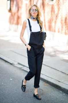 Romee Strijd street style: white top, denim suspenders overalls, loafers, print scarf