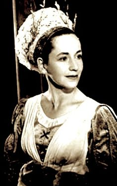 Peggy Ashcroft as Beatrice, in Much Ado About Nothing, Shakespeare Memorial Theatre, Stratford, 1950.
