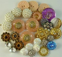 Rhinestone pearl, glass and metal buttons ~ VINTAGE ღ ~ Beautiful.  Love the pearly looking ones