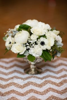 Mixed White Centerpiece with Anemones - Chevron Sequin Linens - Seen on SMP: http://www.StyleMePretty.com/2014/05/28/glamorous-new-years-eve-wedding-in-philly/ AsyaPhotography.com - Floral Design: PetalsLane.com