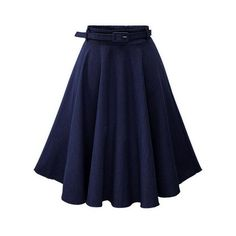 Navy Denim Flared Mid Skirt With Belt ($25) ❤ liked on Polyvore featuring skirts, blue denim skirt, denim flare skirt, navy blue skirt, knee high skirts and blue skirt