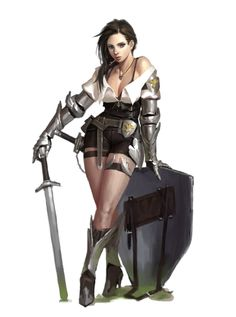 Female Human Sword and Shield Fighter - Pathfinder PFRPG DND D&D 3.5 5th ed d20 fantasy