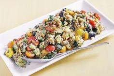 Mixed Quinoa Salad with Roasted summer veggies : eggplant, zuchinni, squash, grape tomatoes, and fresh basil and mint
