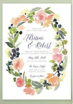 Gorgeous Watercolor Wedding Invitations// Berries 'n Blooms Watercolor Wedding Invitations.  A detailed wreath of watercolor berries, blooms and foliage frame a handwritten-style script font in these gorgeous wedding invitations.