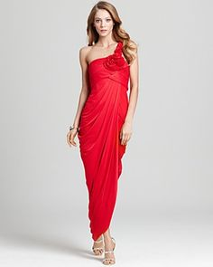 BCBGMAXAZRIA Gown - Elysa One Shoulder Drape