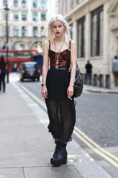 Grunge look sheer maxi skirt with paisley velvet bralet