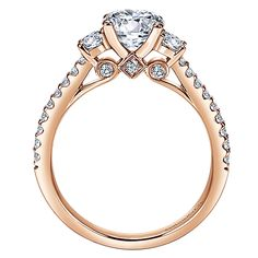 14k Pink Gold Contemporary Style  3 Stones Engagement Ring