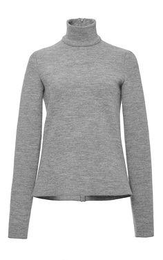 Light Grey Wool Classic Turtleneck by Martin Grant Now Available on Moda Operandi