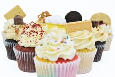 Cupcake collection from Sian's Little Cakery, Grantham Lincolnshire. Caramac, Jammy Dodgers, Cupcake Collection, Cupcake Flavors, Reeses Peanut Butter, Cake Makers, Fun Cupcakes, Freshly Baked, Oreo