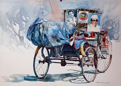 Imagine rickshaw puller who sits majestically in his vehicle, like a king that's exactly what watercolour artist Rajkumar Sthabathy always tries to capture. Watercolor Artists, Watercolor Portraits, Watercolor Illustration, Watercolour Paintings, Watercolours, Indian Illustration, Famous Indian Artists, Painting People, Human Painting