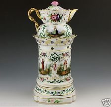 French Porcelain Old Paris 19th Century Veilleuse Teapot Warmer Hand Painted