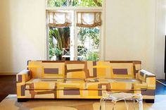 Go Funky & Bold with Christopher Farr Cloth Honey Colour, World Of Interiors, Printed Linen, Interior Inspiration, Upholstery, Indoor, Contemporary, Interior Design, Furniture
