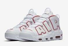 Nike Air More Uptempo White Varsity Red - KicksOnFire.com Sneakers Fashion Outfits, Nike Outfits, Mens Nike Air, Nike Men, Me Too Shoes, Men's Shoes, Red Nike Shoes, Shoes Jordans, Air Jordans