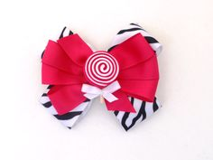 Girls Pink Zebra Candy Hair Bow by MommysBowCreations on Etsy, $7.00