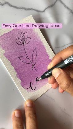 Art Drawings Sketches Simple, Pencil Art Drawings, Drawing Ideas, Watercolor Art Lessons, Watercolor Paintings, Watercolour, Art Painting Gallery, Diy Painting, Mini Canvas Art