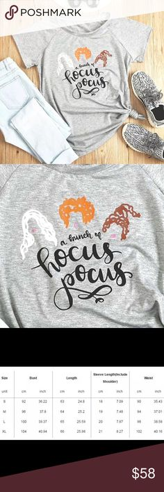 """Hocus Pocus Halloween Witch Graphic Tee T-Shirt ON THE WAY! Like it? Like it!  You'll receive a price drop notification when they're available!  Get witchy this Halloween! Soft heather gray cotton/polyester t-shirt with a cute hair-silhouette Hocus Pocus Winifred, Mary & Sarah Sanderson sisters screenprint, reading """"A bunch of Hocus Pocus."""" #squadgoals  Measurements in the photos - PLEASE double-check yours before purchasing (might run small)! Sizes S-XL only.  Boutique - brand new! Will be…"""