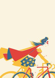 """Rad Wonder Woman illustration - """"How I feel on my bicycle on a 'good' day."""" —via biCyCle Store Paris Illustration Photo, Woman Illustration, Illustrations, Bicycle Illustration, Comic Art, Comic Books, Hq Dc, Bicycle Art, Bicycle Store"""