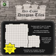 "Dry Erase Dungeon Tiles - Combo Pack of Five 10"" and Sixteen 5"" Interlocking Tiles - Game Nerdz"