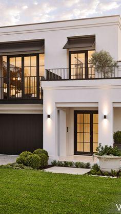 House Roof Design, House Outside Design, Village House Design, Duplex House Design, Facade House, House Design Plans, Architectural Design House Plans, Classic House Exterior, Classic House Design