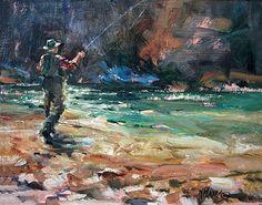 "Fishing The Shadows II by Mary Maxam Oil ~ 8"" x 10"""