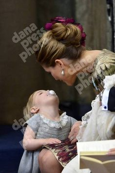 11/10/2015: Prince Nicolas christening. Leonore and Madeleine: cute moment.