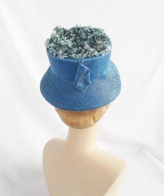 Clearance 1960's Vintage Blue Lamp Shade Hat by MyVintageHatShop