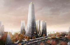 Cradle Towers para la ciudad de Zhengzhou. El estudio de arquitectura de Tonkin Liu ganó un concurso de ideas con sus Cradle Towers. Es el proyecto para el nuevo Trade Centre de Zhengzhou (China). El proyecto tiene un podio para comercio y ocio. De él parten cinco torres (oficinas, hotel, y apartamentos), cada una de altura diferente. Tienen un trazado curvo en la base, y unos patios con jardines verticales. En la coronación de cada torre hay un invernadero con árboles.