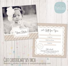 love this design with lace and soft colors gift certificatesgift certificate templatecertificate designphotography