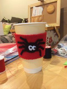 Felt spider coffee cup cozy.