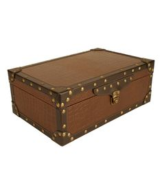 Take a look at this Brown & Dark Brown Trim Suitcase on zulily today!