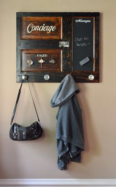 Wall mounted coat and key rack with magnetic chalkboard from Second Chance Art & Accessories