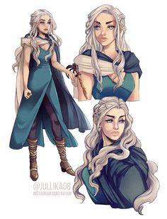 Game of Thrones - Daenerys Targaryen by Jullika on DeviantArt Fantasy Character Design, Character Design Inspiration, Character Concept, Character Art, Character Sheet, Art Game Of Thrones, Dessin Game Of Thrones, Dnd Characters, Fantasy Characters