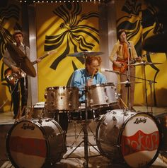 Jack Bruce, Ginger Baker & Eric Clapton. Cream perform on BBCTV show 'Top Of The Pops' in London, 1967.
