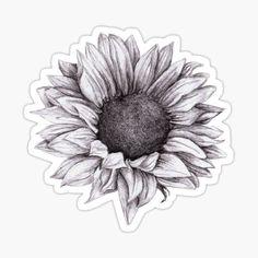 Landscape Pencil Drawings, Pencil Drawings Of Flowers, Flower Art Drawing, Flower Tattoo Drawings, Tattoo Design Drawings, Art Drawings Sketches, Sketch Drawing, Sunflower Sketches, Sunflower Drawing