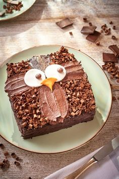 How to make an owl cake. Easy decoration idea for an owl birthday cake, made using a simple basic chocolate sponge recipe (square) and decorations to make an owl. So cute How to make an owl cake. Easy Kids Birthday Cakes, Owl Cake Birthday, Owl Cakes, Cupcake Cakes, Ladybug Cakes, Fruit Cakes, Cake Recipes, Dessert Recipes, Baking Recipes