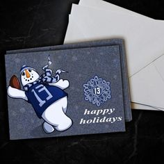 New York Giants Odell Beckham Jr Snowman Christmas Card 5 Pack