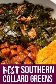 Soul Food Southern Collard Greens Recipe - List of the best food recipe Collard Greens Recipe Soul Food, Best Side Dishes, Side Dish Recipes, Dinner Recipes, Slushies, Southern Recipes, Pizza, Thermomix, Essen