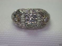 Antique European Diamond Engagement Ring 18K Art Deco Vintage Estate Solitaire Ring Size ~ 6 UK-L1/2.
