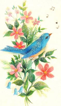 Vintage bluebird image {i really must scan all granny's vintage greeting cards}