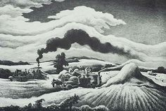 Threshing - THOMAS HART BENTON American, (1889-1975) Lithograph, 1941, Fath 48, edition 250. 9 3/8 x 13 3/4 in. Signed in pencil, lower right. e edge showing on the top and bottom and they are 1 1/2 inches on the sides. This important print relates to several preparatory drawings and the painting is now located in the Swope Art Museum in Indiana.