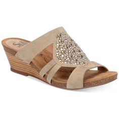 Sofft Vassy Beaded Slip-On Wedge Sandals ($100) ❤ liked on Polyvore featuring shoes, sandals, baywater, sparkly shoes, beaded shoes, slip on shoes, sparkle wedge shoes and sparkly wedge sandals