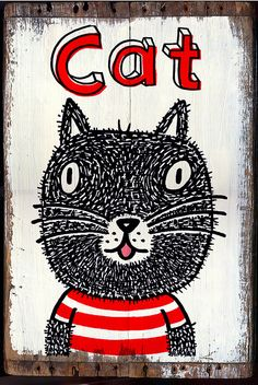 draw cats - black cat on old board I Love Cats, Cool Cats, Baby Cats, Cats And Kittens, Image Chat, Illustration Art, Illustrations, Here Kitty Kitty, Cat Drawing