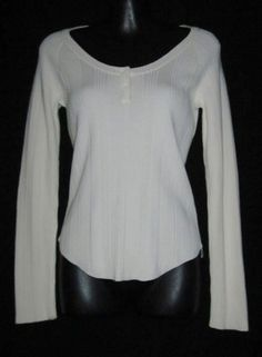Tommy Hilfiger Small Shirt NEW Womens Small Top Off White Long Sleeved CUTE ~~~~$22.99
