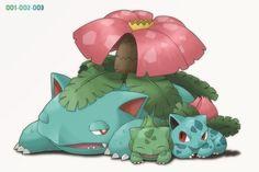 Bulbasaur, Ivysaur and Venusaur 151 Pokemon, Pokemon Fan Art, Cute Pokemon, Pokemon Cards, Pokemon Team, Venusaur Pokemon, Bulbasaur Evolution, Equipe Pokemon, Pokemon Red Blue